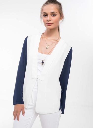 DeFacto Renk Blok Detaylı Blazer Ceket Lacivert